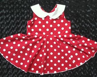 Size 7 Vintage Inspired Circle Skirt Dress - Polka Dot Dress - Girls Dress - Retro Style Dress - Girls Collard Dress - Girls Party Dress