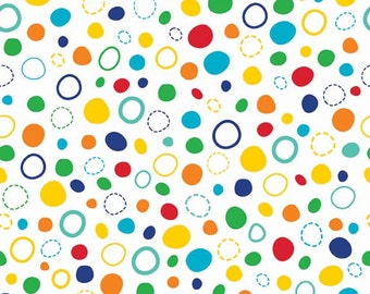 Colorful Dots Fabric, Red, Green, Yellow, Blue, In The Ocean, Riley Blake C4112 Multi, Bubbles, Spots & Dots Quilt Fabric, Cotton