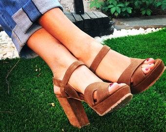 Paula Suede high heel sandals