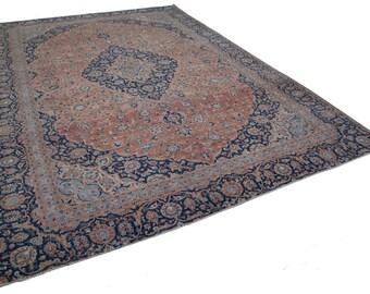 Handmade Decorative Beige Persian Large Area Rug - Oversize Persian Rug