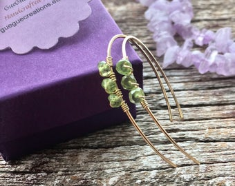 Peridot Green Hoop Earrings, August Birthstone Green Crystal Hoop, Edgy Gold Peridot Jewelry, Green Gemstone Hoop