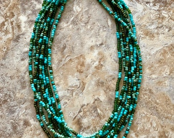 Turquoise & Green Multi Strand Necklace