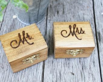 Wedding Ring Boxes - Mr. and Mrs.- Set of 2 - Wedding Ceremony, rustic ring box, wedding keepsake