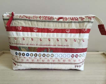 Selvedge Pouch - red and cream