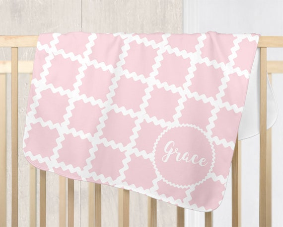 Personalized Pink Baby Blanket with Ric Rac Detailing