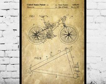 Mountain Bike Print, Mountain Bike Poster, Mountain Bike Patent Bike, Mountain Bike Art, Trek Bike Poster, Mountain Biking Decor