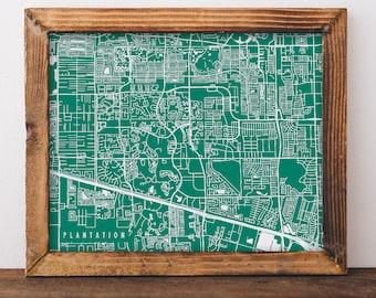 Plantation Map Plantation Art Plantation Map Art Plantation Print Plantation Printable Plantation City Art Florida Art