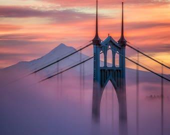 St Johns Bridge Photograph, Portland Oregon, Fine Art Photography, Sunset, Sunrise, PDX, Wall Decor, Bridge Photography, Wall Art, Oregon