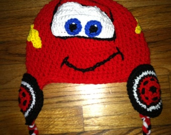 Crochet Race car hat with earflaps and side tassels 0-toddler