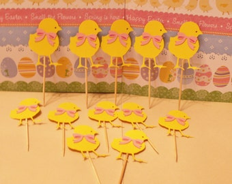 12 paper chick cupcake toppers, cupcake toppers, Easter cupcake toppers, Easter toppers, chick toppers, chick cupcake toppers
