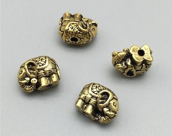 30 pcs Antique Gold Elephant Beads,Double Sided Elephant,DIY Supplies 9x12mm