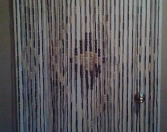 Wood beaded curtain