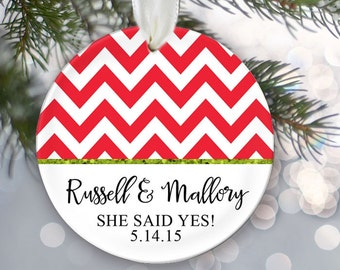 Engagement Ornament, Christmas Gift, Personalized Christmas Ornament Just Engaged Gift, She said yes! Couples Gift, Personalized Gift OR261