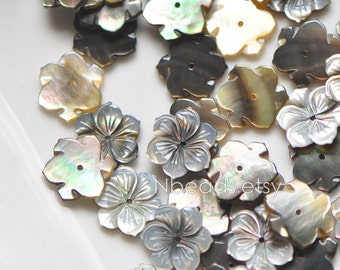 10pcs Black MOP Shell Flowers 15mm, Carved Mother of Pearl Flowers , Center Drill - (V1188)