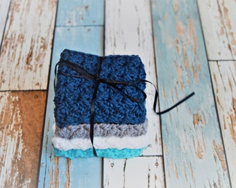 Set of 4 medium, cotton dish cloths/wash cloths***navy, gray, white & turquoise