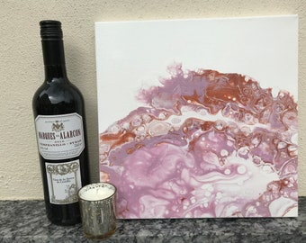 Acrylic Fluid Original Painting in Blush Pink and Copper 30 x 30cm