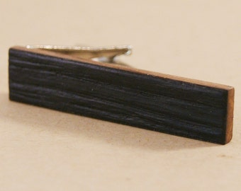 "Skinny Wooden Tie Clip: Whiskey Barrel Charred Natural Edge - 1.6"" long tie bar"