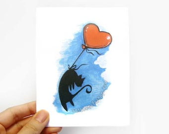 Black Cat Card, Happy Anniversary, Balloon Art, Sympathy Card, Pet Loss, Valentines Day, Pet Memorial, I Love You Personalized Card
