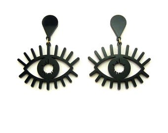 WIDE EYES Statement Earrings - eye earrings, evil eye earrings, modern Earrings, laser cut earrings, eye jewelry