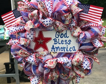 Patriotic / 4th of July Independence Day Wreath (Made to Order) (Sample) Deco Mesh Wreath by Debi