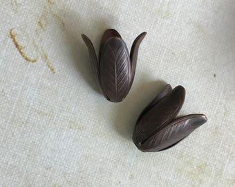 Vintage Brass Tulip Bead Cap