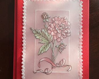 Flowers, floral,  handmade, Card suitable for Valentine,Wedding,Anniversary,Birthday.  Choice of colours