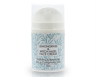 Lemongrass & Witch Hazel Face Cream for Oily or Combination Skin types, Hydrating and Balancing moisturiser 50ml,