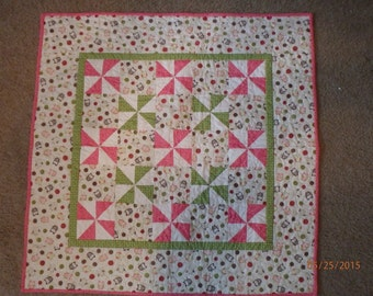 Pink and Green Baby Quilt , baby girl quilt, baby girl gift, nursery decor, homemade quilt, pinwheel quilt