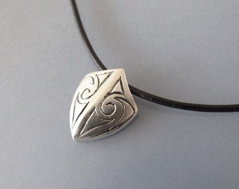 Men's Silver Shield Necklace - silver necklace , for men , celtic necklace , armor pendant, celtic jewelry