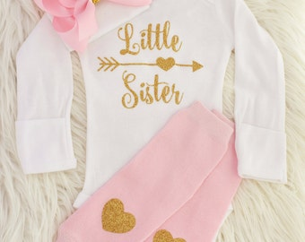 Little sister outfit, baby girl coming home outfit, little sister shirt, baby girl, newborn girl outfit, going home outfit, coming home