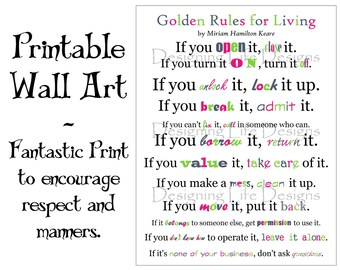 Golden Rules for Living - Positive Wall Art - Printable Artwork PDF