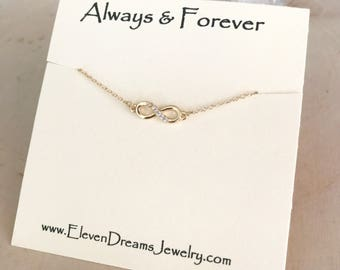 """APRIL'S ITEM of the MONTH! Gold and Cubic Zirconia """"Always & Forever"""" Carded Infinity Necklace . Mother's Day"""