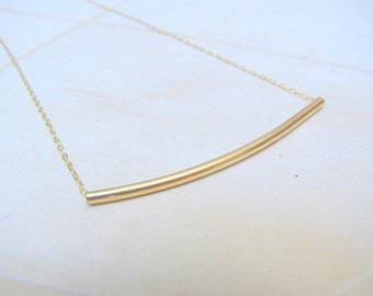 Mother Day Sale - Gold curved tube necklace - gold tube necklace - delicate gold necklace