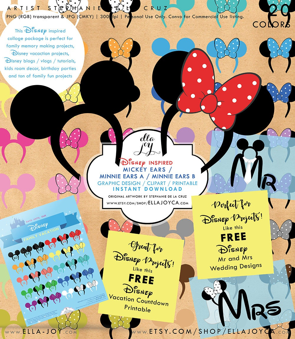 Mickey Ears Minnie Ears Disney Clipart DIY Party Printable Disney ...