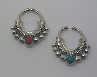 silver fack septum ring with coral/turquoise stone,coral septum,turquoise septum,fack septum,stone septum,nose ring,septum hoop, boho hcic