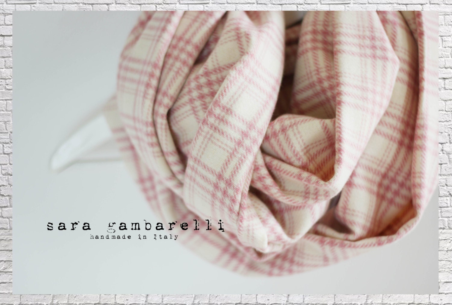 plaid infinity scarf chunky white scarf pastel pink scarf rose infinity scarf ivory circle. Black Bedroom Furniture Sets. Home Design Ideas