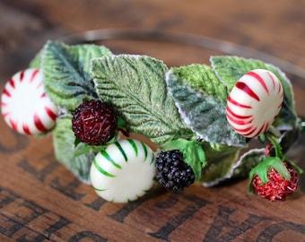 "Christmas Headband, Peppermint Headpiece, Holiday Hair Accessory, Xmas Fascinator, Winter Hair Band Festive Red Green - ""Deck the Halls"""