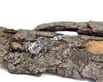 Genuine Herkimer Diamond Necklace - Gemstone Cage - Herkimer Diamond Jewelry -  Raw Crystal Necklace - Herkimer Jewelry - Small Crystal O