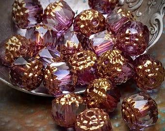 8mm...Picasso/Gold Czech glass Cathedral beads Dark Pink and Clear...10pcs./ Item #23