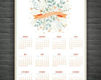 2018 Wall Calendar: Coral & Sage // Annual Calendar // At A Glance Calendar // Office Decor