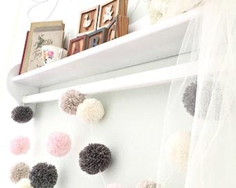Pom Pom Garland - Yarn - Pink - Linen - Ivory - Medium Gray - Yarn Pom Poms - Nursery - Wedding - Farmhouse Style Decor - Party - 6 Ft.