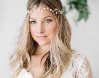 Pearl Hair Vine- Freshwater Pearl Halo- Bridal Headpiece- Gold Wedding Halo- Gold Crown