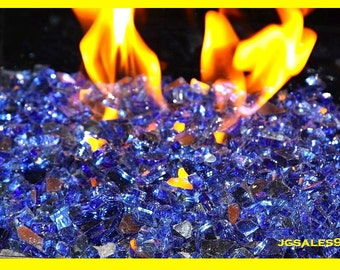 "10 LBS Pounds Fireglass 1/4"" Reflective Cobalt Blue Fire Glass - Tempered Glass for Fireplace & Firepit"