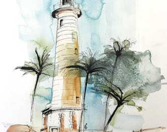 original watercolor painting - lighthouse, Galle Fort Sri Lanka