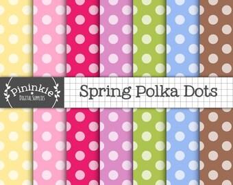 Polka Dots Digital Paper, Polka Dot Scrapbook Paper, Instant Download, Digital Scrapbooking, Polka Dot Digital, Card Making, Co