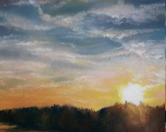 Quality Limited Edition Print from original pastel painting of Norfolk Coastline titled 'Sunset on Barton Broad'