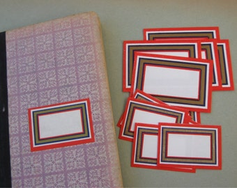 Vintage Silkscreen Blank Labels Red Navy Gold Border from Portugal (12)