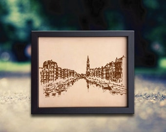 Lik185 Leather Engraved Netherlands Amsterdam street Amsterdam canal Honeymoon third anniversary personalized gift
