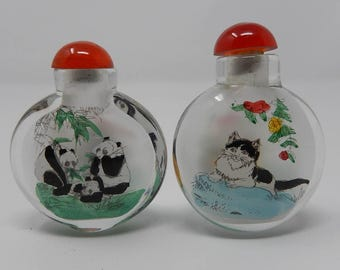 Old Pair of Glass Snuffbox, snuff bottle