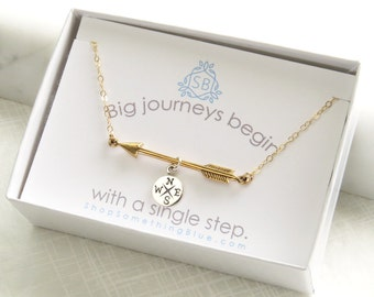 Graduation Gift • Arrow and Compass Necklace • Traveler Gift • Wanderlust • College Graduation • Big Journey • Compass Rose